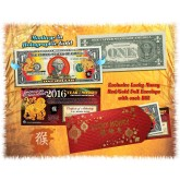 Lot of 25 - 2016 Chinese New Year - YEAR OF THE MONKEY - Gold Hologram Legal Tender U.S. $1 BILL - $1 Lucky Money