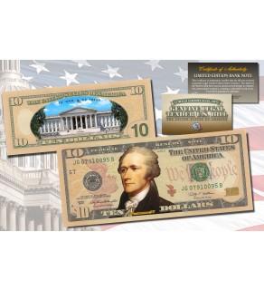 TEN DOLLAR $10 U.S. Bill Genuine Legal Tender Currency COLORIZED 2-SIDED