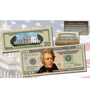 TWENTY DOLLAR $20 U.S. Bill Genuine Legal Tender Currency COLORIZED 2-SIDED