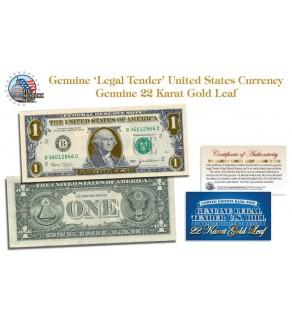 22 KARAT GOLD LEAF Genuine Legal Tender US $1 Bill Currency - Limited Edition