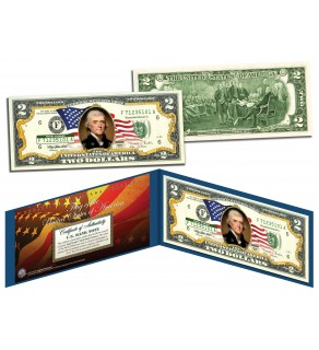 United States of America - Flowing Flag - Legal Tender $2 Bill COLORIZED Currency
