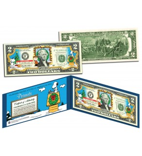PEANUTS - Charlie Brown & Snoopy - CHRISTMAS Legal Tender U.S. $2 Bill - Officially Licensed