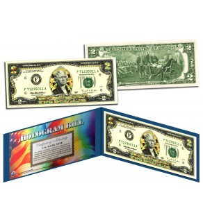 GOLD DIAMOND CRACKLE HOLOGRAM Legal Tender US $2 Bill Currency - Limited Edition