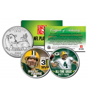 BRETT FAVRE - 3-Time MVP & All-Time Great - Wisconsin State Quarters US 2-Coin Set - Officially Licensed