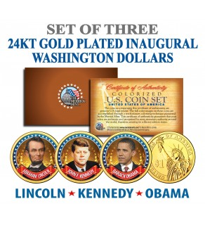 OBAMA - KENNEDY - LINCOLN - Presidential $1 U.S. Dollar Colorized 3-Coin Set 24K Gold Plated