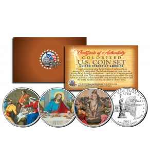 JESUS CHRIST - Nativity - Last Supper - Ressurection - Colorized New York State Quarters 3-Coin Set