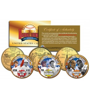 GOLDEN BASEBALL LEGENDS - Record Breakers - State Quarters US 3-Coin Set 24K Gold Plated