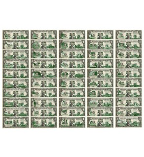 "Set of 50 STATE $1 Bills - Genuine Legal Tender - U.S. One-Dollar Currency "" Green """