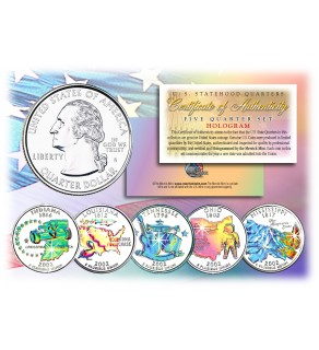 2002 US Statehood Quarters HOLOGRAM - 5-Coin Complete Set - with Capsules & COA