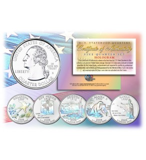 2008 US Statehood Quarters HOLOGRAM - 5-Coin Complete Set - with Capsules & COA