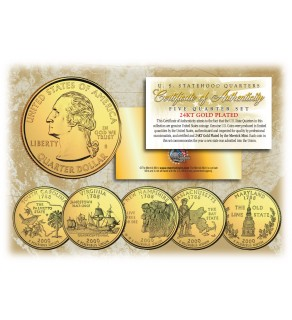 2000 US Statehood Quarters 24K GOLD PLATED - 5-Coin Complete Set - with Capsules & COA