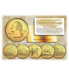 2001 US Statehood Quarters 24K GOLD PLATED - 5-Coin Complete Set - with Capsules & COA