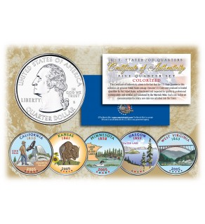 2005 US Statehood Quarters COLORIZED Legal Tender - 5-Coin Complete Set - with Capsules & COA