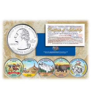 2006 US Statehood Quarters COLORIZED Legal Tender - 5-Coin Complete Set - with Capsules & COA