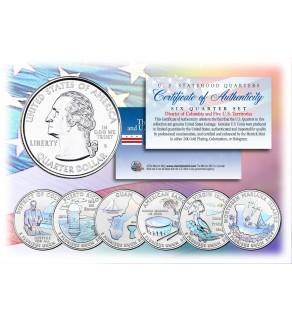2009 DC & US TERRITORIES Quarters HOLOGRAM - 6-Coin Complete Set - with Capsules & COA