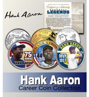 Baseball Legend HANK AARON Georgia & Wisconsin Statehood Quarters US Colorized 3-Coin Set - Officially Licensed