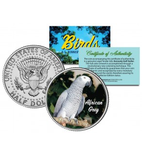 AFRICAN GREY Collectible Birds JFK Kennedy Half Dollar Colorized US Coin PARROT