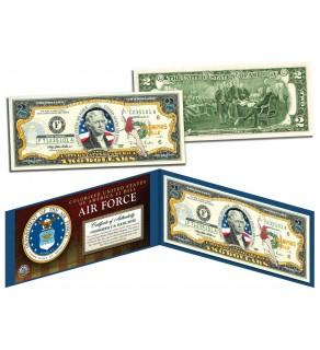 United States AIR FORCE World War II WWII Vintage Genuine Legal Tender Colorized U.S. $2 Bill