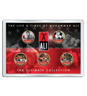 """MUHAMMAD ALI """" Life & Times """" 24K Gold Plated US Statehood Quarter 5-Coin Set - Officially Licensed"""