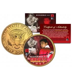 "MUHAMMAD ALI "" The Greatest "" JFK Kennedy Half Dollar 24K Gold Plated U.S. Coin"