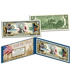 MUHAMMAD ALI - Americana - Genuine Legal Tender Colorized U.S. $2 Bill - Officially Licensed