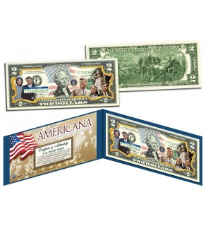 The KENNEDY Family - Americana - Genuine Legal Tender Colorized U.S. $2 Bill