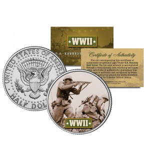 World War II - AMERICAN SOLDIER BATTLEFIELD - JFK Kennedy Half Dollar U.S. Coin