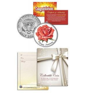 HAPPY ANNIVERSARY Keepsake Gift JFK Kennedy Half Dollar US Coin