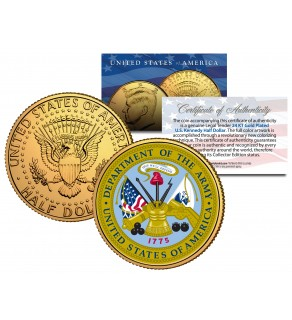 United States ARMY Emblem 24K Gold Plated JFK Kennedy Half Dollar Coin MILITARY