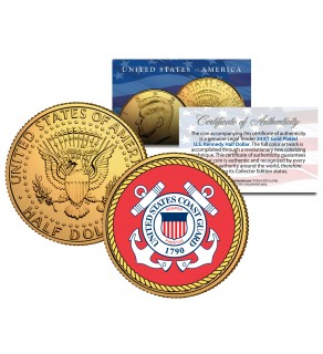 United States COAST GUARD Emblem 24K Gold Plated JFK Kennedy Half Dollar Coin MILITARY