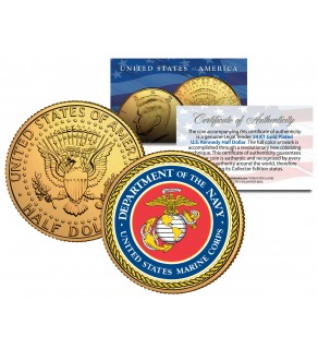 United States MARINE CORPS Emblem 24K Gold Plated JFK Kennedy Half Dollar Coin MILITARY