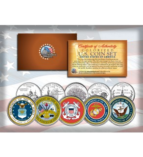 United States ARMED FORCES State Quarters US 5-Coin Set - ARMY - NAVY - MARINES - AIR FORCE - COAST GUARD