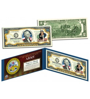 United States ARMY World War II WWII Vintage Genuine Legal Tender Colorized U.S. $2 Bill