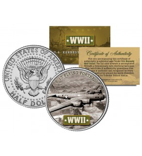 World War II - B-17 FLYING FORTRESS - JFK Kennedy Half Dollar U.S. Coin
