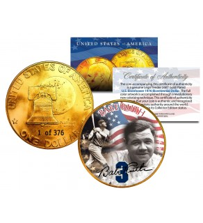 1976 BABE RUTH 24K Gold Plated IKE Dollar - Each Coin Serial Numbered of 376 - Officially Licensed