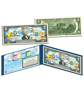 IT'S A BOY Birth Announcement Keepsake Baby Gift Legal Tender Colorized $2 Bill