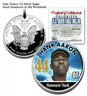 HANK AARON 2006 American Silver Eagle Dollar 1 oz U.S. Colorized Coin Baseball - Officially Licensed