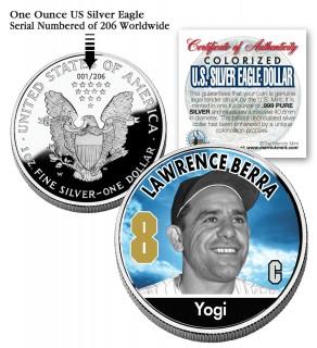 YOGI BERRA 2006 American Silver Eagle Dollar 1 oz U.S. Colorized Coin Yankees - Officially Licensed
