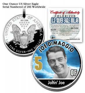 JOE DIMAGGIO 2006 American Silver Eagle Dollar 1 oz U.S. Colorized Coin Yankees - Officially Licensed