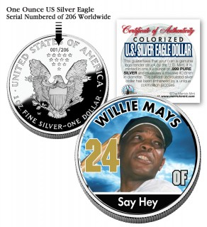 WILLIE MAYS 2006 American Silver Eagle Dollar 1 oz U.S. Colorized Coin Baseball - Officially Licensed