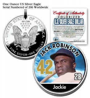 JACKIE ROBINSON 2006 American Silver Eagle Dollar 1 oz Colorized U.S. Coin Baseball - Officially Licensed