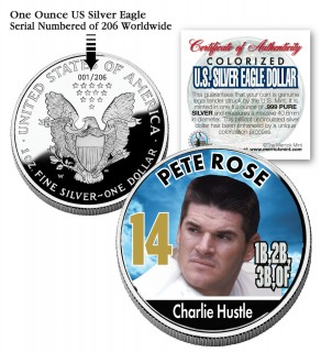 PETE ROSE 2006 American Silver Eagle Dollar 1 oz U.S. Colorized Coin Baseball - Officially Licensed