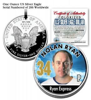 NOLAN RYAN 2006 American Silver Eagle Dollar 1 oz U.S. Colorized Coin Baseball - Officially Licensed