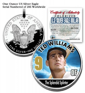 TED WILLIAMS 2006 American Silver Eagle Dollar 1 oz Colorized U.S. Coin Baseball - Officially Licensed