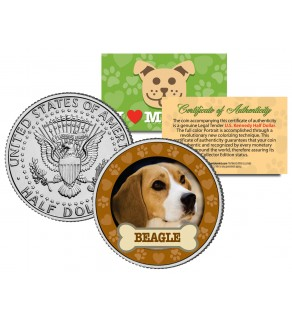 BEAGLE Dog JFK Kennedy Half Dollar U.S. Colorized Coin