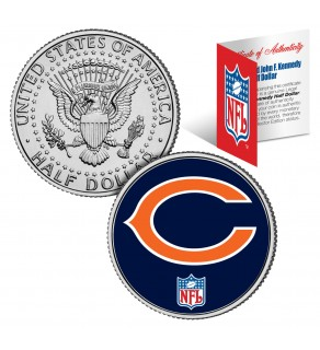 CHICAGO BEARS NFL JFK Kennedy Half Dollar US Colorized Coin - Officially Licensed