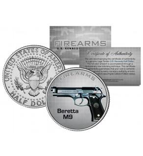 BERETTA M9 Gun Firearm JFK Kennedy Half Dollar US Colorized Coin
