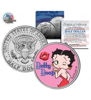 "BETTY BOOP "" Kiss "" JFK Kennedy Half Dollar US Colorized Coin - Officially Licensed"