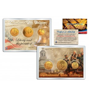 1976 BICENTENNIAL COIN COLLECTION 24K Gold Plated US 3-Coin Set QUARTER IKE JFK