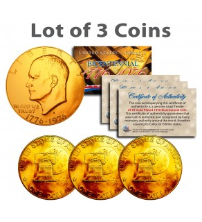 Bicentennial 1976 Eisenhower IKE Dollar Coins 24K GOLD PLATED w/Capsules (Quantity 3)